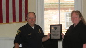Chief Szarejko presented Goodell with a plaque for years of service